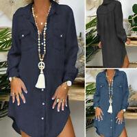 Women Long Sleeve Collar Button Down Denim Tops Blouse Irregular Hem Shirt Dress