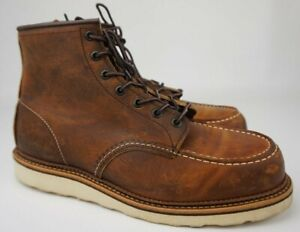 Red Wing Heritage Brown Copper Rough Tough Leather Moc Toe Boot 1907 Size 11 D