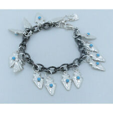 Rhodium on 925 Sterling Silver Natural Blue Turquoise Arrow Head Charm Bracelet