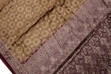 Vintage Indian Pure Tussar Silk Saree Hand Woven Sari Wrap Long Curtain Fabric