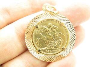 24k Yellow Gold Queen Victoria D G Britt Reg F D Vintage Estate Charm Necklace