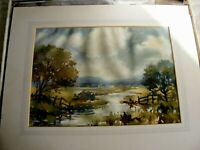 VINTAGE  WATERCOLOUR PAINTING BY ANGELA STONES LANDSCAPE CHELSEA ARTIST
