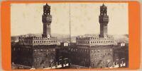 Italia Palazzo Vecchio Firenze C 1870 Foto Stereo Vintage Albumina