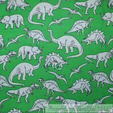BonEful Fabric FQ Flannel Quilt VTG Green White Dino*saur Baby Boy Nursery Toile