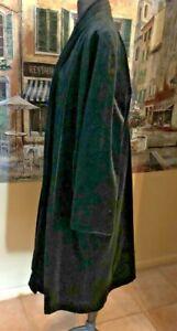 VTG JS Collection Long Black Cotton Velvet Evening Swing Opera Coat Open Front L