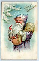Vintage Postcard Merry Christmas Purple Robe Santa Claus Bag Of Toys 1911