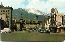 Chrome Postcard Pikes Peak Ave Street View Colorado Springs Co Old Cars 1940s