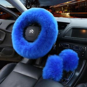 Universal Car Furry Blue Steering Wheel Cover Woolen Fur Gear Knob Shifter Brake