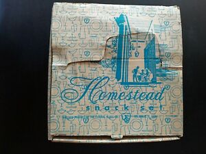 Vintage Homestead Federal Glass Snack Set Glass Cups Plates With Box