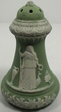 Antique Green Bisque Schafer & Vater Hatpin Holder W/ Women & Urns & Flowers