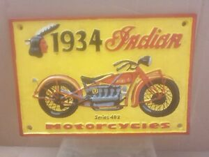 Large Indian Motor Cycle Sign .30cm x20cm Very Heavy 2.2kg