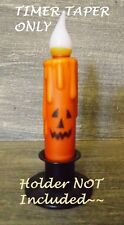 "JACK-O-LANTERN Taper ORANGE 4 5/8"" LED TIMER Primitive Candle Halloween Fall"