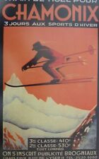 A3 VINTAGE TRAVEL poster CHAMONIX Alps Ski Holiday Xmas train Steam Railway