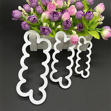 3pcs 3D Rose Petal Flower Cutter Fondant Cake Sugarcraft Mold Easy to Use Pop