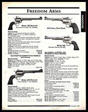1999 FREEDOM ARMS 252, 454 Casull Field Grade, 455 Premier, 353 REVOLVER AD