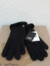 UGG CLASSIC PERFORATED 2- POINT BLACK SUEDE SHEEPSKIN CUFF GLOVES, LARGE  ~NWT