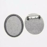 2pcs Tibetan silver color ovale 40x 30 mm Cabochon Settings Broche Design XA037