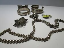 VINTAGE JEWELRY LOT STERLING SILVER BRACELET BEAD NECKLACE COLLECTION OLD AS IS
