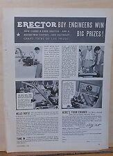 1934 magazine ad for Erector Sets - Boy Engineers win Big Prizes, no.7 set