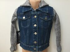 NEW GIRLS DENIM JACKET WITH ATTACHABLE HOOD FOR KIDS AGE 3 4 5 6 7 8 9 10 YEARS