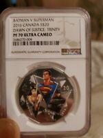 2016 BATMAN V SUPERMAN DAWN JUSTICE TRINITY $20 SILVER NGC PF 70 UC ER .999 PURE