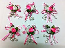 Pink Rose flower wedding embellishment (sold in a packet of 6)