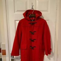 Womens BURBERRY Duffle Coat Jacket Hooded Size UK 8 Red 100% Wool