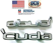 "1970 74 Plymouth Cuda Door Panel Emblems ""Cuda"" NEW MoPar USA"