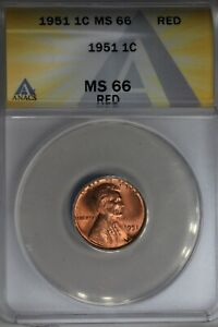 1951  .01  ANACS  MS 66 RED  Lincoln Head Cent, Lincoln One Cent