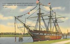 Newport RI USS Constellation Dressed for Queen Elizabeth 1937 Postcard #n968