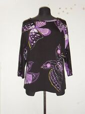 Ladies Antthony Studio Black Butterfly Print Cold Shoulder Top - Size M