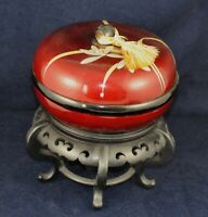 Vintage Red and Black Lacquer Japanese Covered Rice Bowl with Black Stand