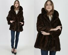 Vtg 70s Dark Brown Mink Fur Jacket Double Breasted Shawl Collar Swing Waist Coat