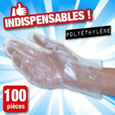 100 Gants Jetables Multi-Usages en Polyéthylène Transparents Sans Latex