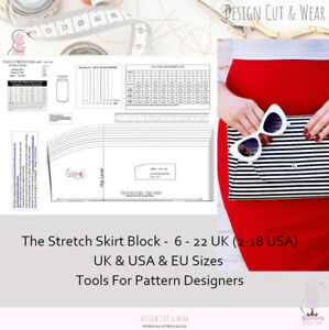 STRETCH SKIRT BLOCK PATTERN SIZES XXS-4XL  Design Your Own Patterns & Slopers !