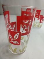 Federal Vintage Barware Glasses Red Block With Leaves Pattern Mid Century Modern