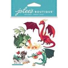 Dragons Fire Breathing Fantasy Renaissance HTF Jolee's 3D Sticker