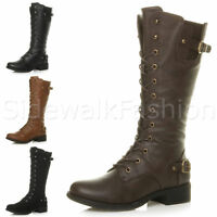 Womens ladies low heel buckle eyelet lace up military biker calf boots size