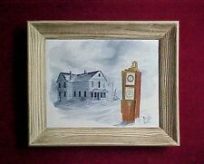Original Oil Painting of a rare Cash Recorder Clock Face Gas Pump by Art Kober