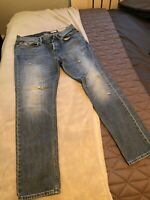 Mens All Saints Tapered Fit Size 32 W Waist Blue Jeans