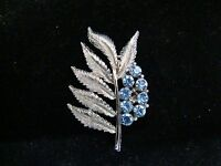 Vintage Silver-Toned Leaf with Blue Rhinestones Pin/Brooch, Beautiful Accessory
