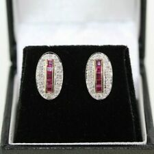 9ct Yellow Gold Ruby and Diamond Art Deco Style Earrings