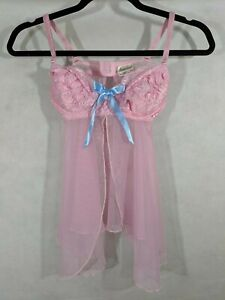 Lingerie Sexy Pink Intimates Babydoll Thong Panty Set Small New Lace Sheer