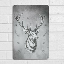 Stag Vintage Watercolour Grey Sign A4 Metal Plaque Wall Art Painting Print