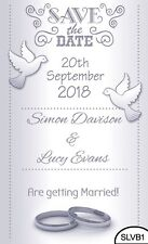 50 Save the Date Evening Wedding Magnet Cards Envelopes Silver Love Birds Hearts
