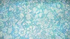 Blue Turquoise Flower Leaf Print Vinyl Upholstery Fabric  1 Yard