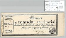 MANDAT TERRITORIAL - 25 FRANCS (AVEC LE N° DE SERIE) 28 VENTOSE AN 4 MERCIER