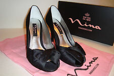 Nina New York Womens NWB Forbes Black Luster Satin Heels Shoes 6.5 MED NEW