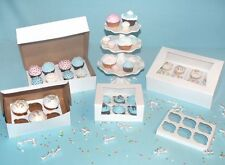 25 Cupcake WINDOW Bakery Box Holds 4 Each with INSERTS 8x8x4 WHITE