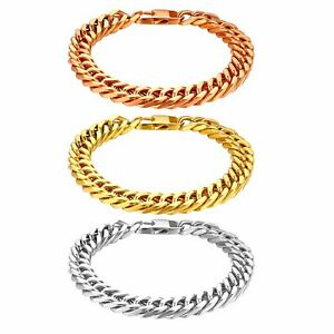 Mens Stainless Steel Heavy Wide 10mm Curb Cuban Link Chain Bracelet Bangle Gift